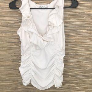 Cabi sleeveless cotton ruffle top